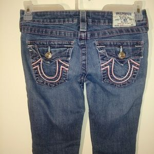 True Religion skinny jeans with back button flap